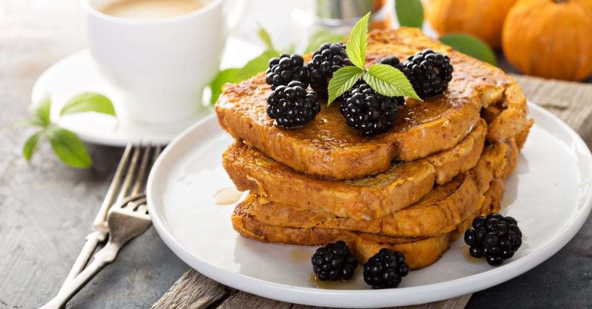 Homemade Pumpkin French Toast with Berries and Coffee