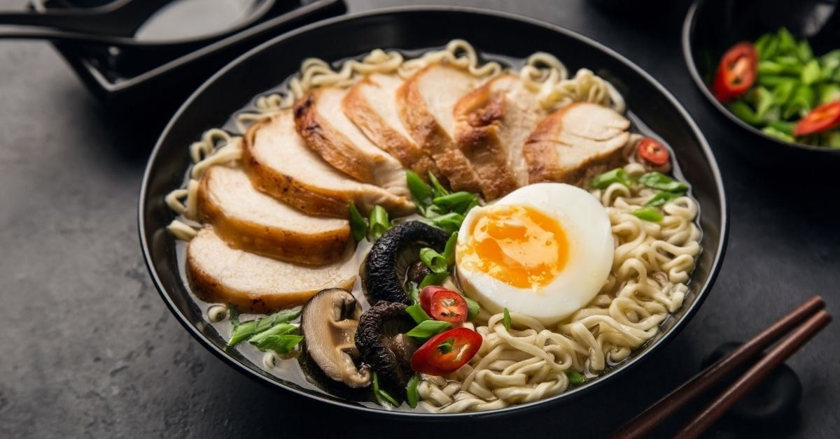 Homemade Ramen Noodle Soup with Chicken and Egg