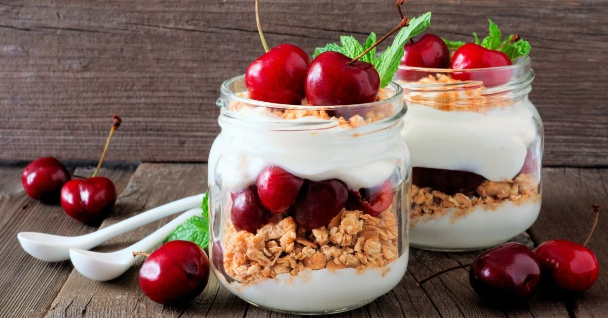 Homemade Yogurt Parfait with Red Cherries