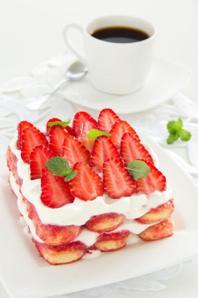 Ladyfinger Strawberry Tiramisu with Coffee