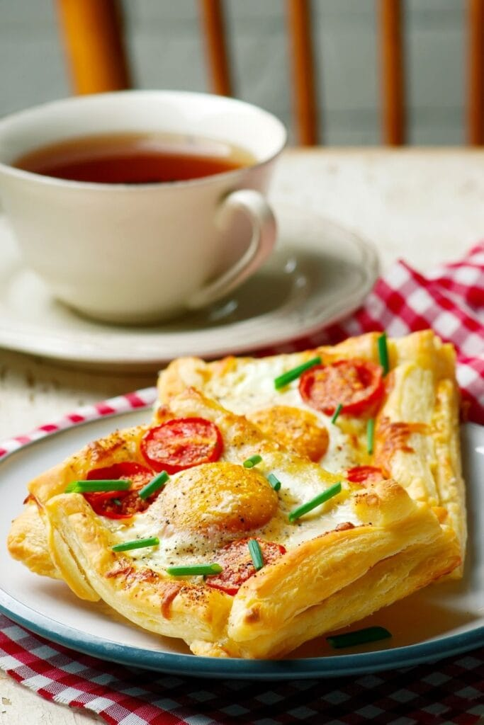 Puff Pastry Breakfast Pizza with Coffee