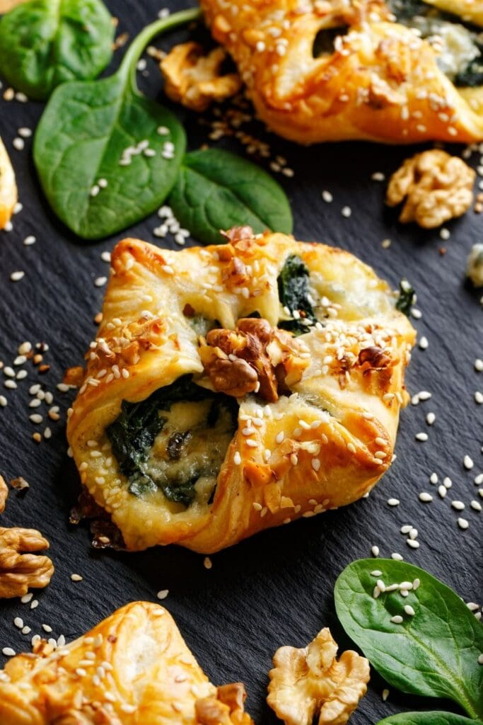 Puff Pastry Stuffed Spinach with Gorgonzola Cheese and Sesame Seeds