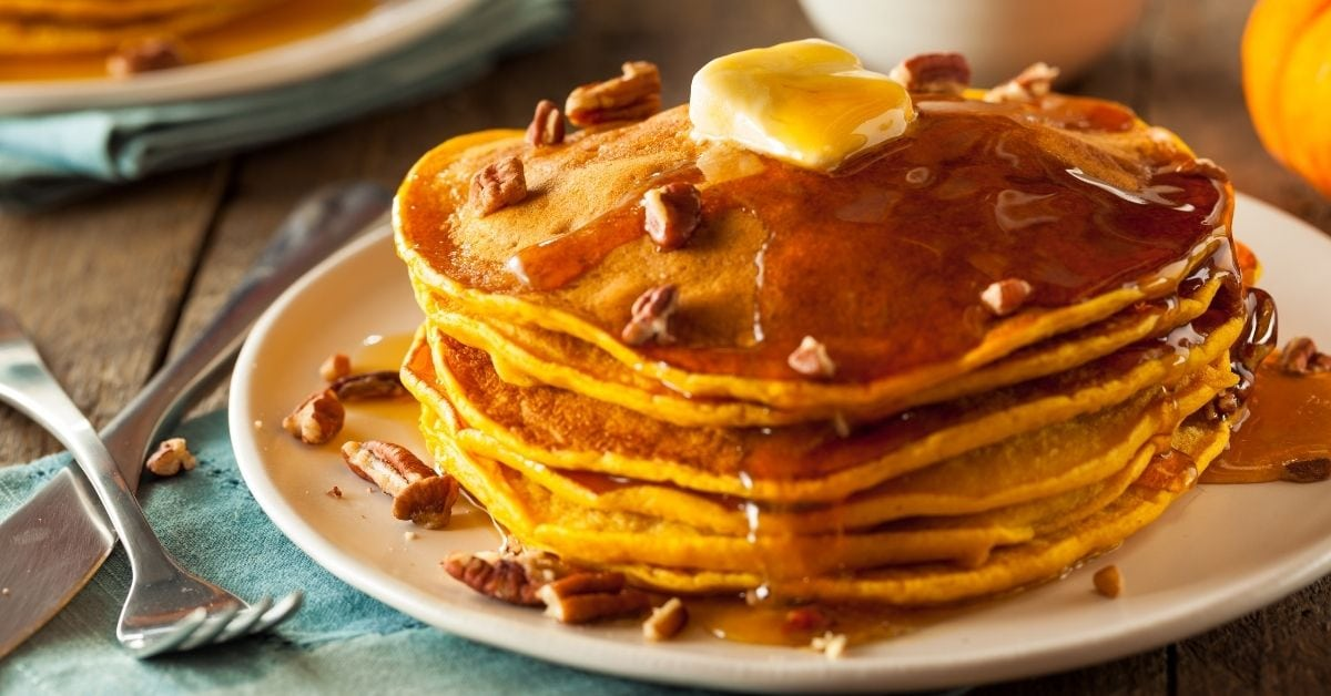 Pumpkin Pancake with Nuts, Butter and Maple Syrup