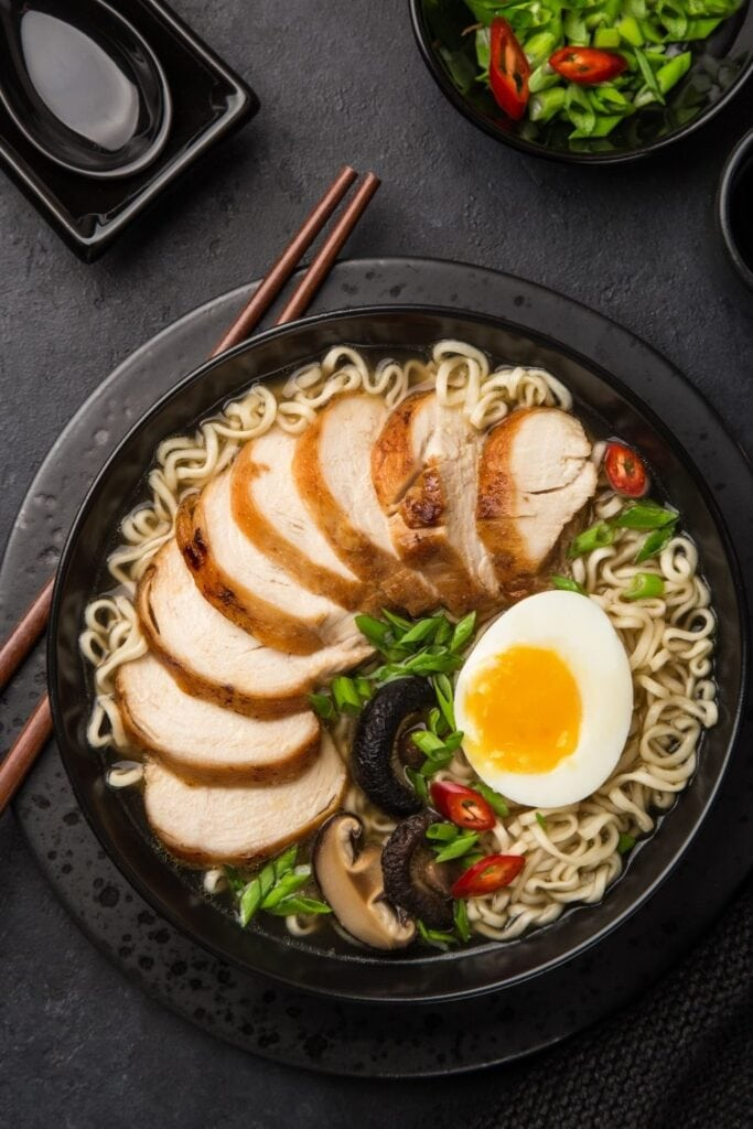 Ramen Noodle Soup with Chicken and Egg