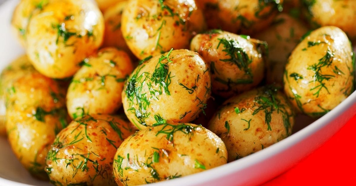 Sauteed Baby Potatoes with Dill in a Bowl