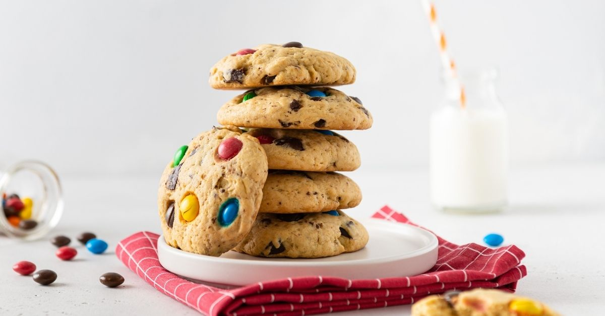 Stacks of Homemade Cookies with Colorful Candies