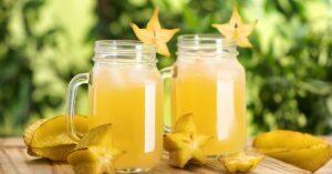 Starfruit Juice in a Mug Glass with Fresh Starfruits