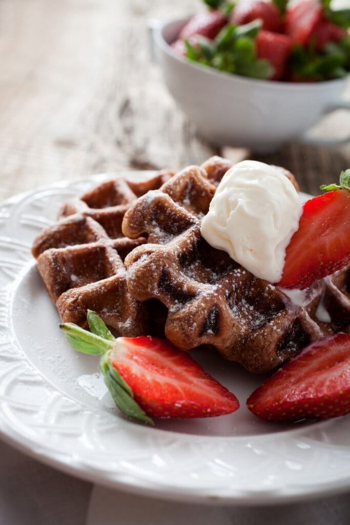 Sweet Chocolate Waffles with Strawberries and Ice Cream