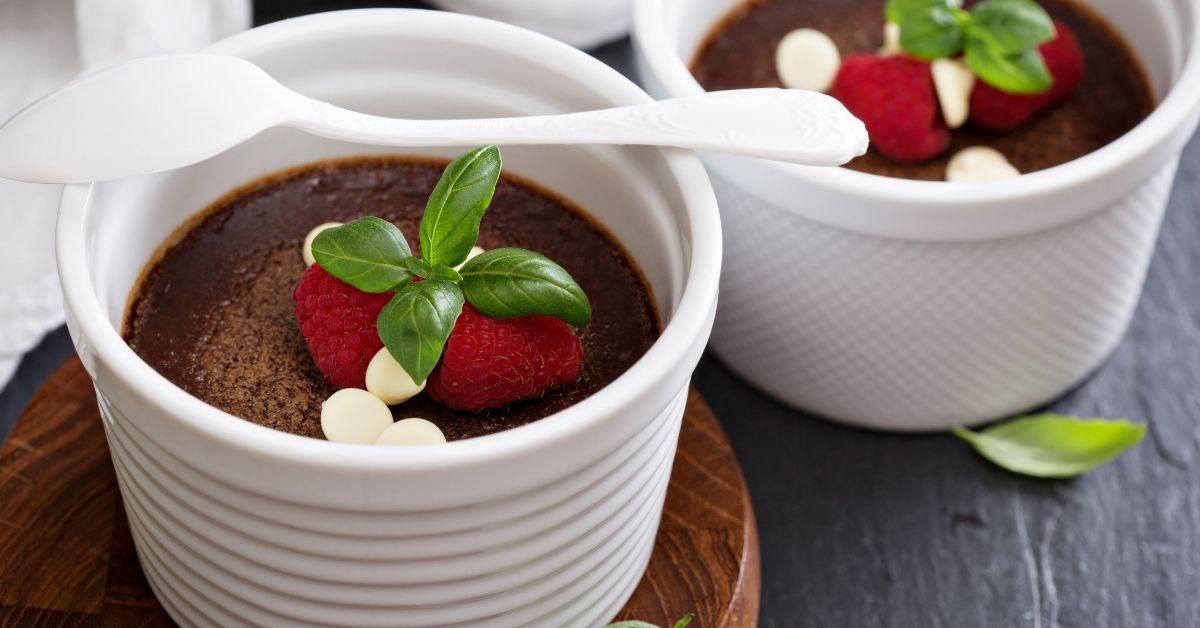 Sweet Homemade Chocolate Pots De Creme in Ramekin