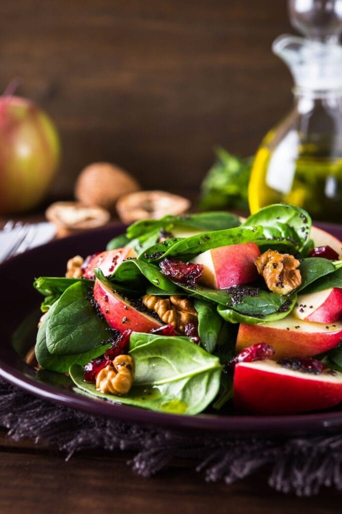 Apple and Spinach Salad with Dried Cranberries and Walnuts