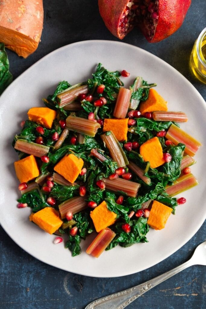Boiled Swiss Chard with Sweet Potatoes and Pomegranate