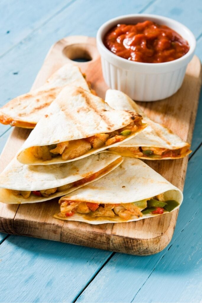 Chicken Quesadillas with Cheese and Peppers