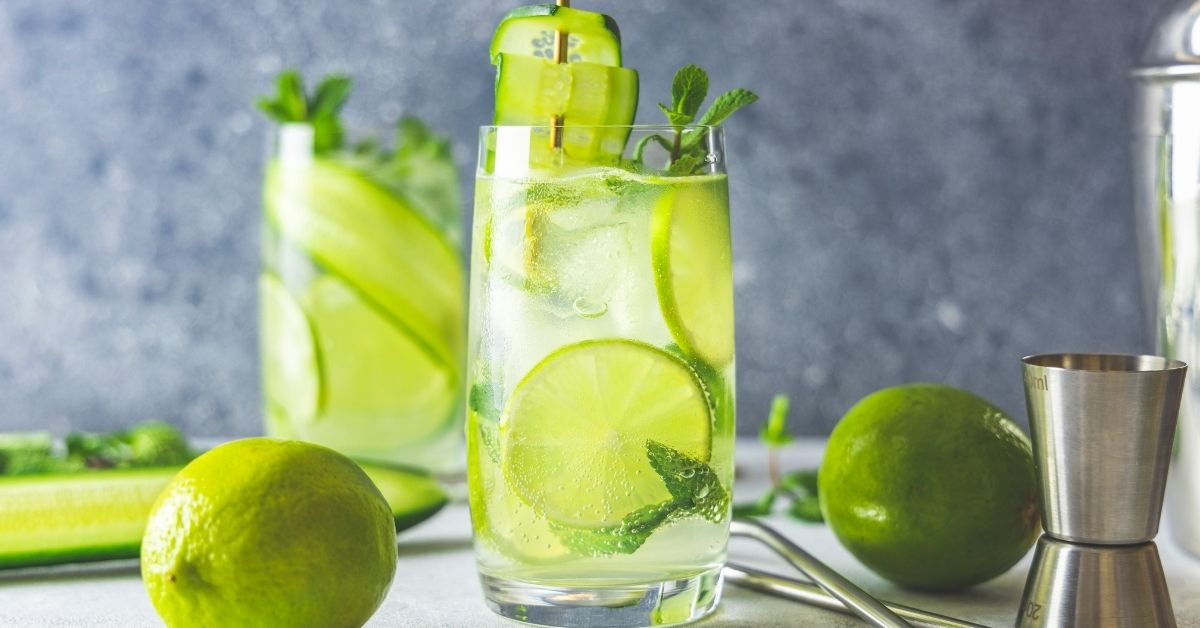 Cold Cucumber Lime Mojitos with Mint