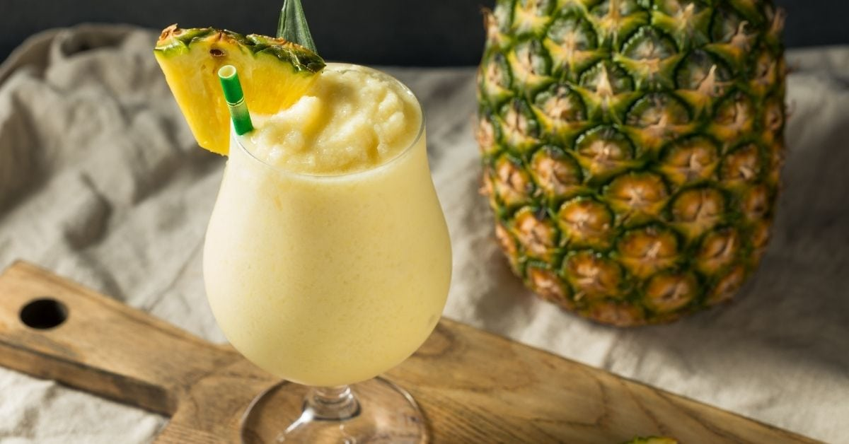 Cold Pina Colada with Fresh Sliced Pineapple