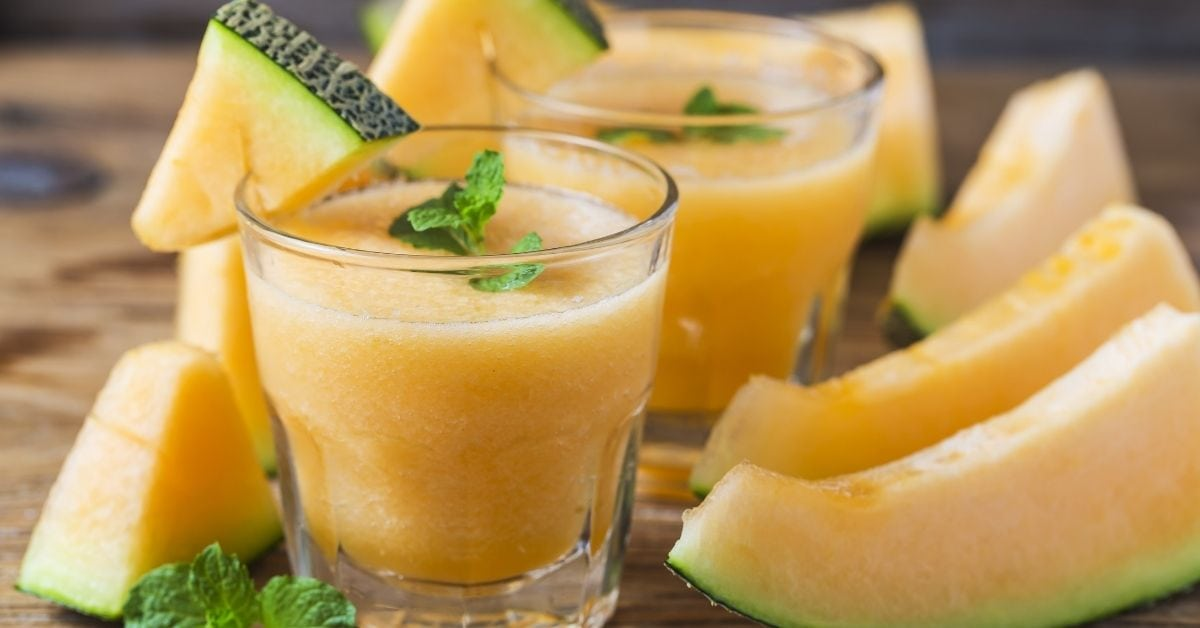 Cold Refreshing Melon Juice with Fresh Melons