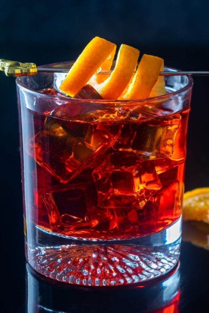 Cold Refreshing Negroni Cocktail with Orange Twist