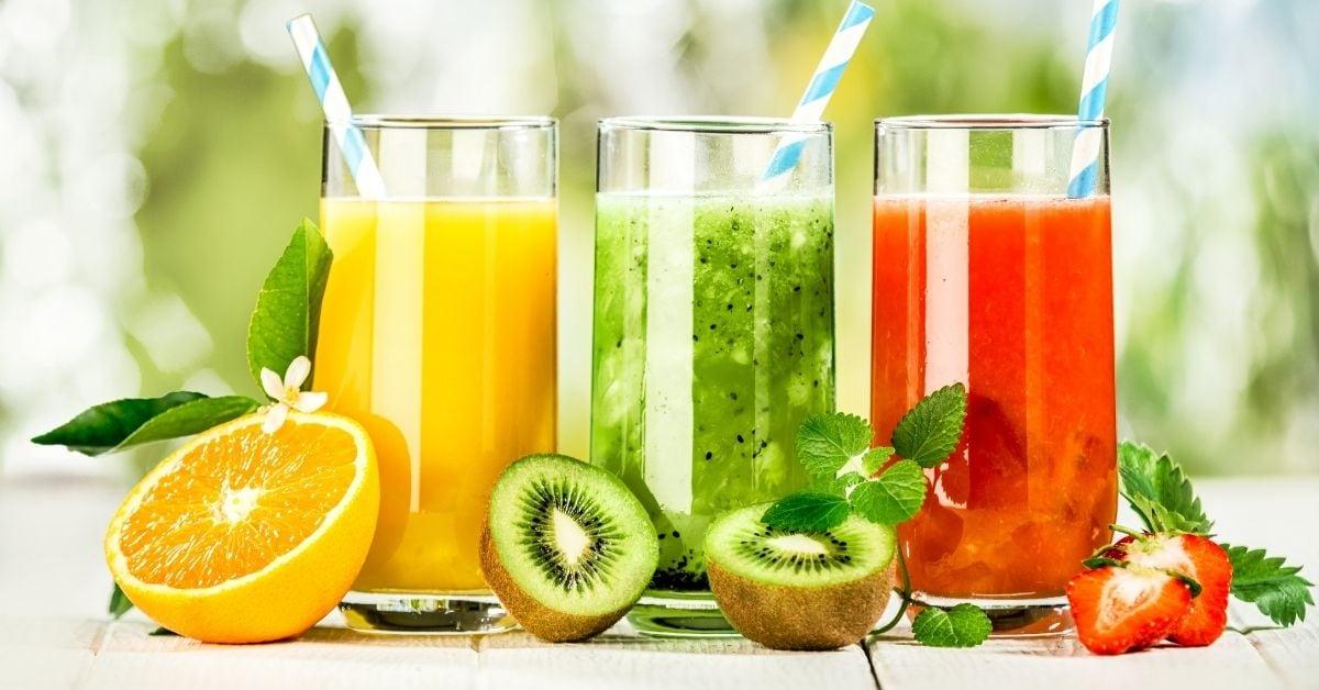 Delicious Fruit Juices: Orange, Kiwi and Strawberry