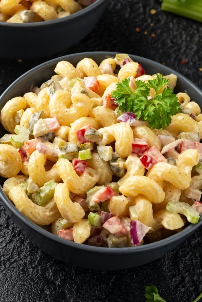 Elbow Pasta Salad with Bell Peppers and Onions