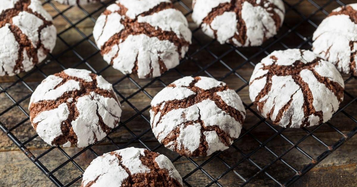 Fudge Crinkle Cookies with Powdered Sugar