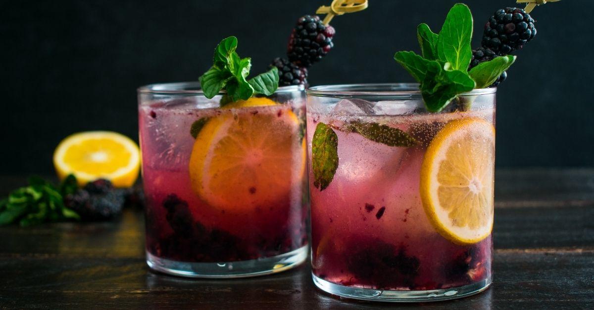 Glasses of Refreshing Lemon Blackberry Meyer Gin and Tonic Cocktail