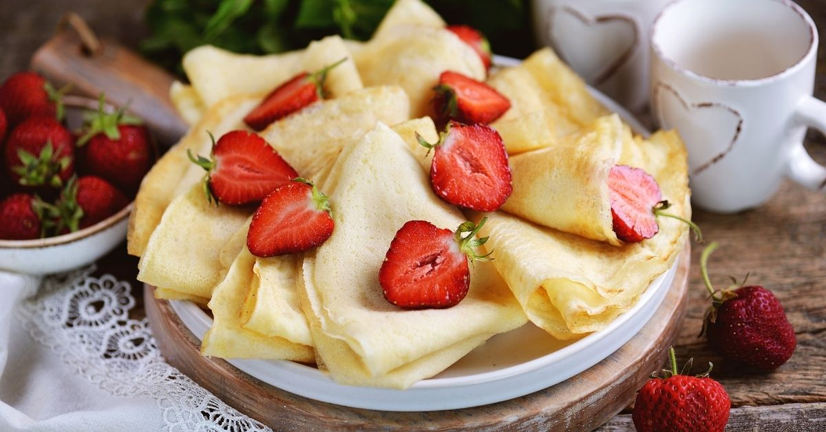 Homemade Chickpea Flour Crepes with Fresh Strawberries