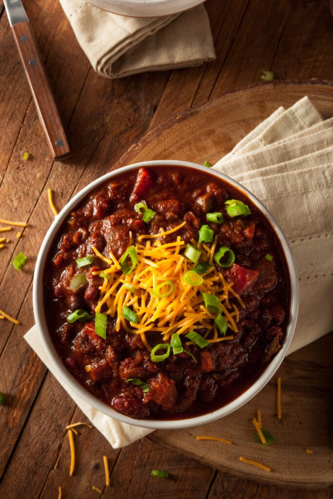 Homemade Chili with Beans and Cheese