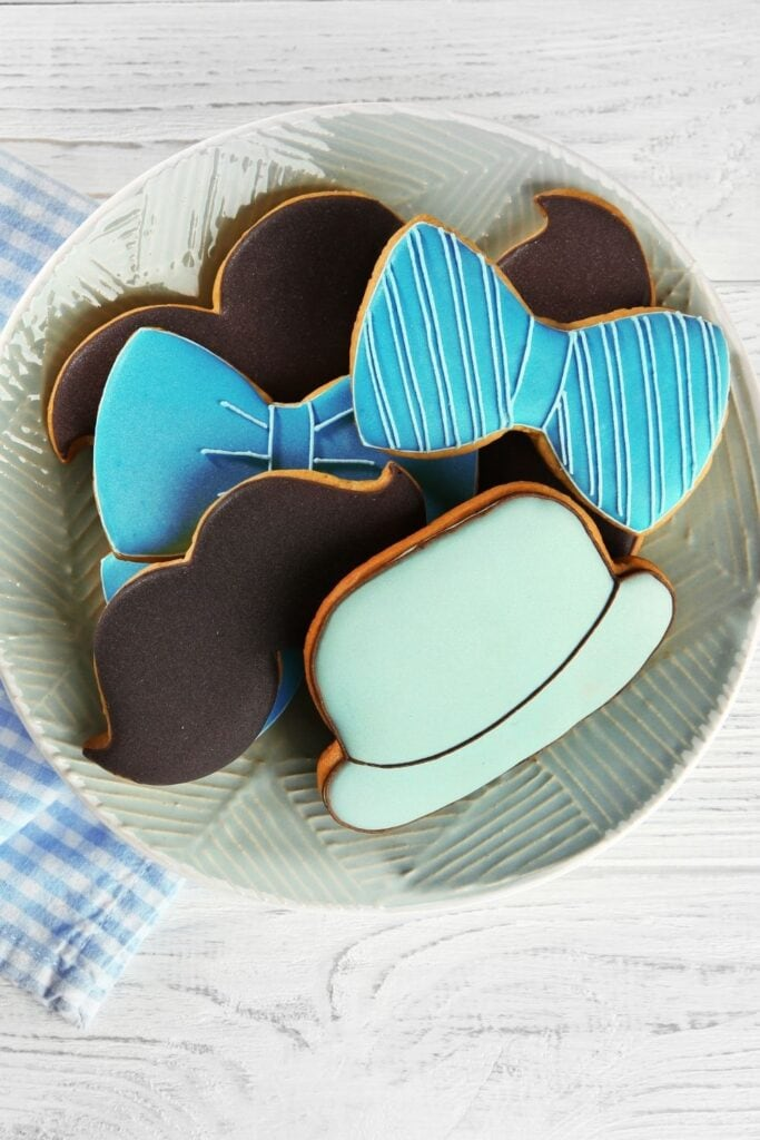 Homemade Decorated Cookies in a Plate