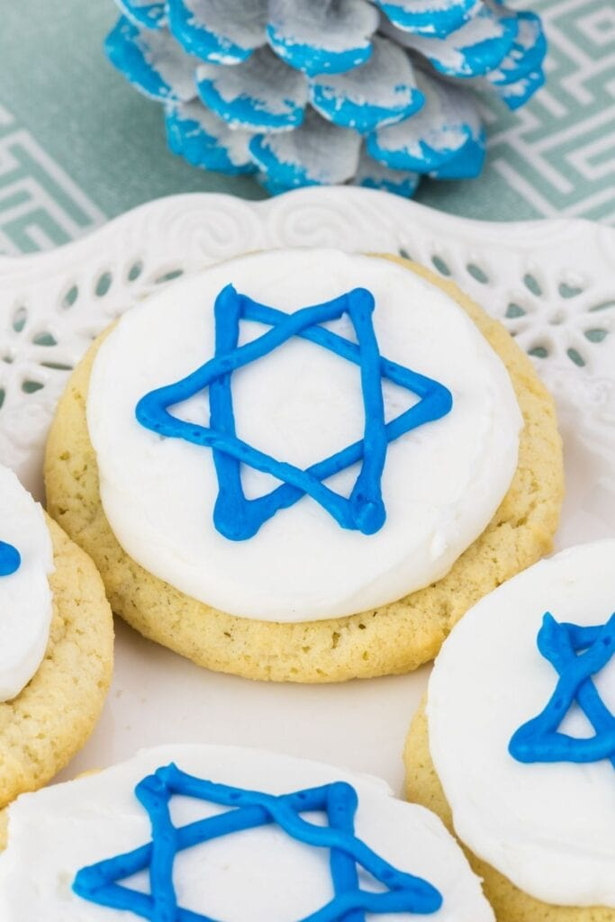 Homemade Hanukkah Cookies with Blue Star Icing