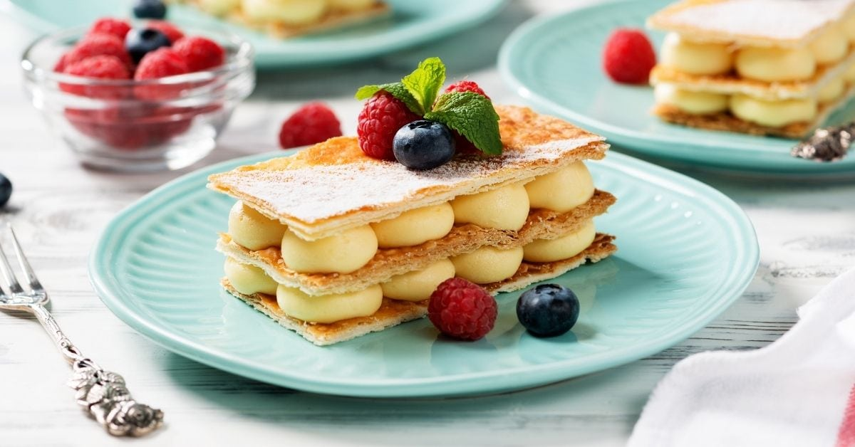 Homemade Mille Feuille Dessert with Vanilla Cream and Berries