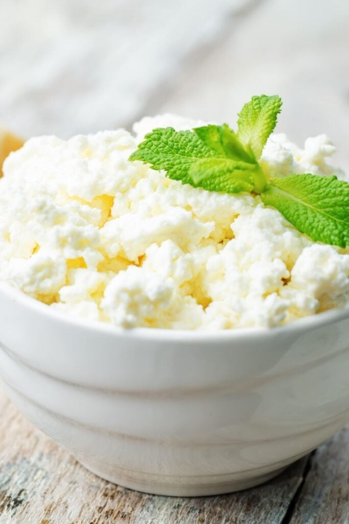 Homemade Ricotta Cheese with Mint