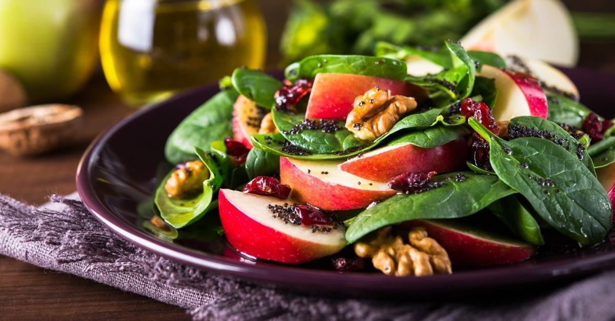 Homemade Spinach Salad with walnuts, Apples and Dried Cranberries