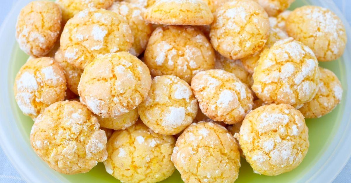 Lemon Cake Cookies with Powdered Sugar