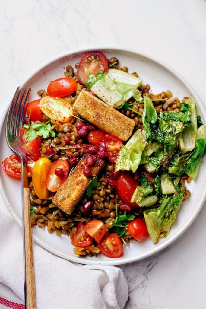 Lentil Salad with Fried Cheese, Lettuce, Tomatoes and Kidney Beans