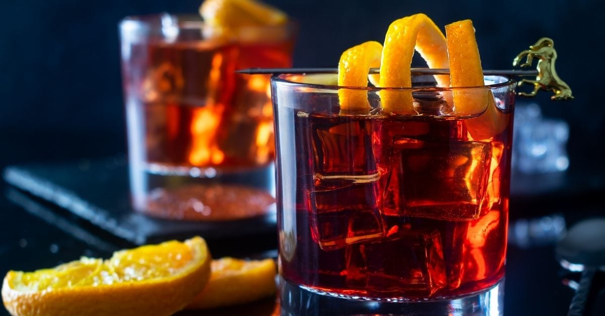Negroni Cocktail with Ice and Orange Twist in a Glass