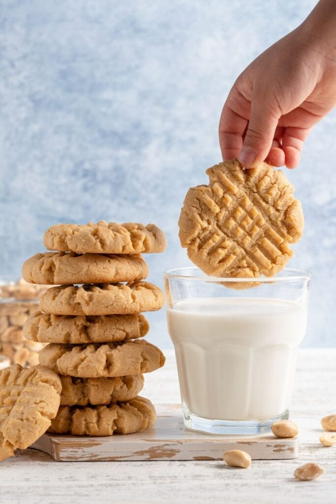 Peanut Butter Cookies and a Glass of Milk