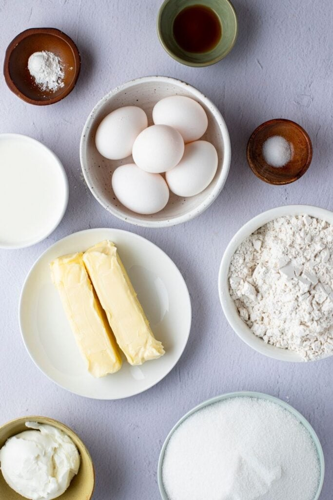 Pound Cake Ingredients: Butter, Sugar, Flour, Eggs and Vanilla Extract
