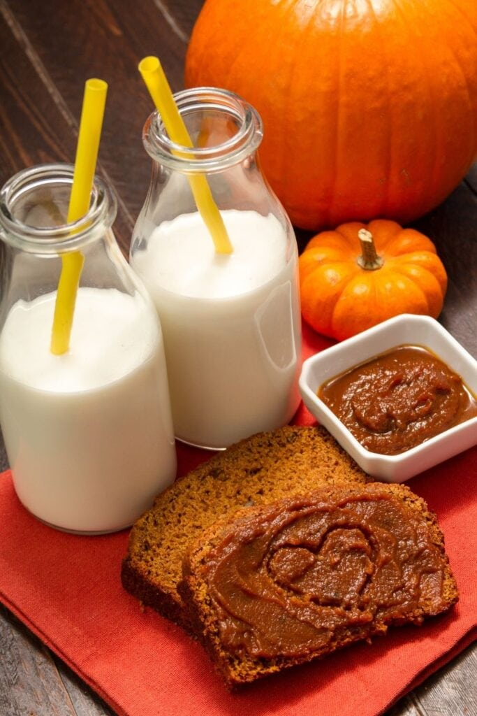 Pumpkin Bread with Fresh Milks and Butter