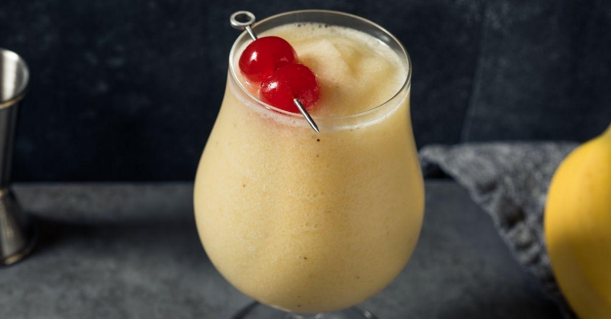 Refreshing Banana Daiquiri Cocktail with Cherries