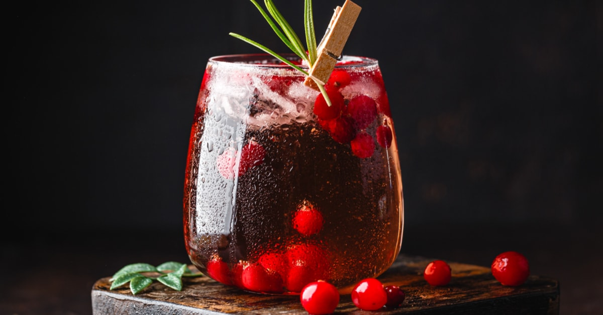 Refreshing Cranberry Cocktail in a Glass