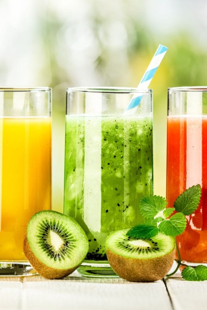 Refreshing Fruit Juices in Tall Glasses