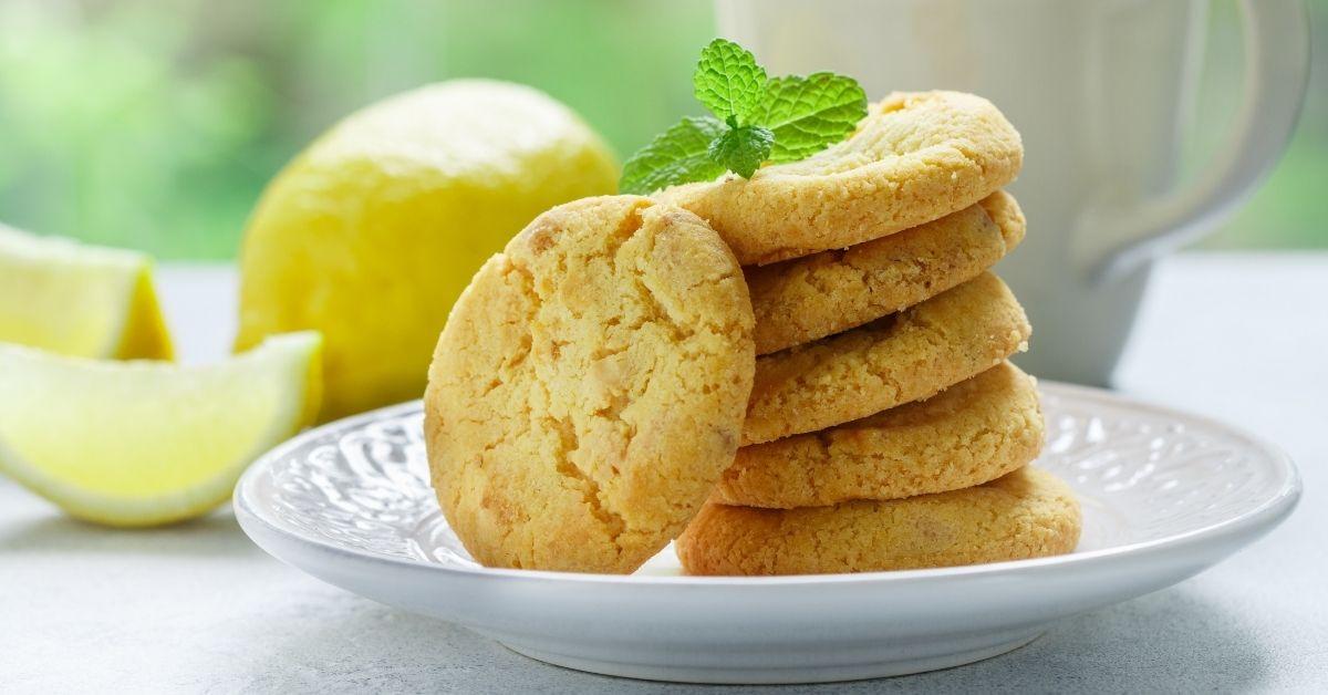 Sweet Homemade Lemon Cookies with Mint