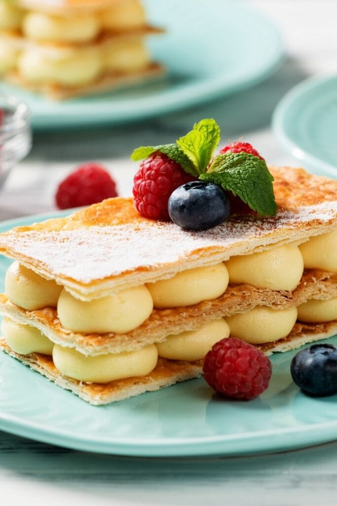 Sweet Mille-Feuille with Vanilla Cream and Fresh Berries
