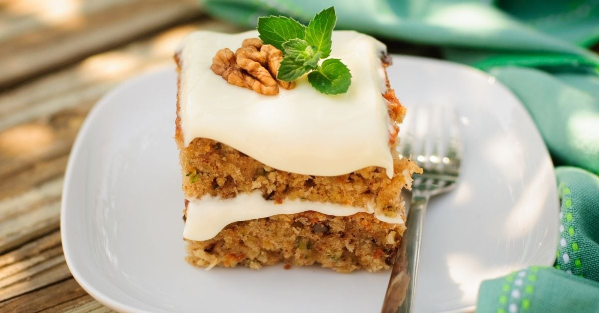 Sweet Zucchini Cake Bars with Cream Frosting