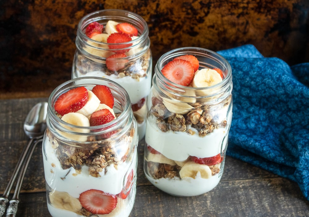 Strawberry Banana Granola Parfaits